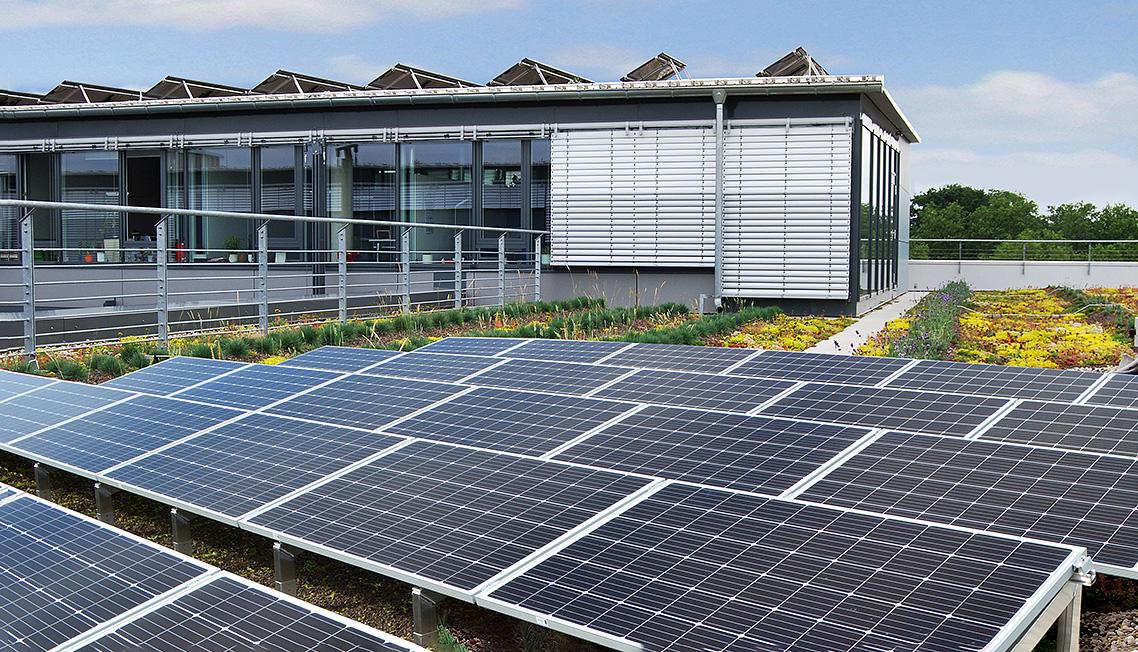 Beispiel für Optigrün-Solargründach